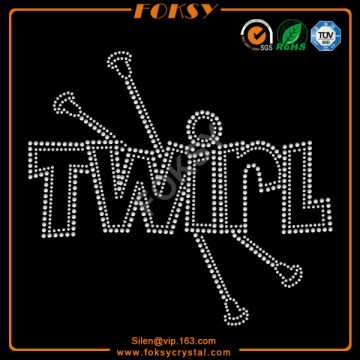 New Arrival for Wording Rhinestone Transfer Wholesale Twirl iron on rhinestone letters supply to South Korea Factories