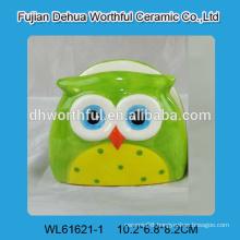 Artistic designed ceramic napkin holder in owl shape