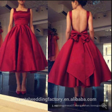 2017 Tank Neckline Backless Satin A-line Knee Length Wine Red Bridesmaid Dresses MB862
