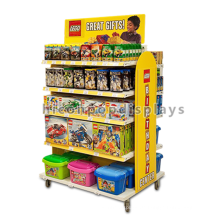 Kids Produkte Shop Movable 4-Caster Freistehende 5-Layer Metall Holz Vinyl Made Toys Display Regal
