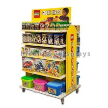Produits pour enfants Magasin Meuble à 4 roulettes Freesanding 5-Layer Metal Wood Vinyl Made Toys Display Shelf
