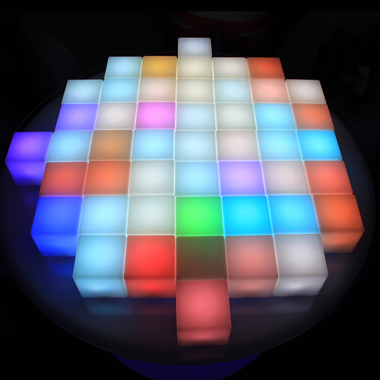 LED Cube Table and Chair for Snack Bar