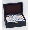 Double 12 Plastic Dominoes Tiles In Leather Box