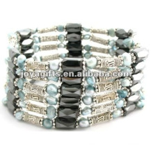 Magnetic Blue Pearl Beaded wrap Bracelets & Necklace 36""