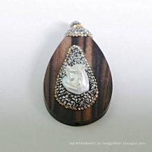 Moda madeira preciosa sândalo madrepérola pingente colar encantos