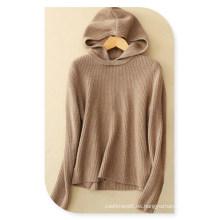Jersey de capucha con capucha y cachemir de señora con cuello redondo y mangas largas para otoño / invierno