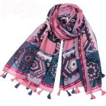 Hot vente style national écharpe motif géométrique imprimé arabe foulard hijab coton voile tassel écharpe