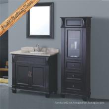 Gabinete clásico de tocador de baño de madera maciza