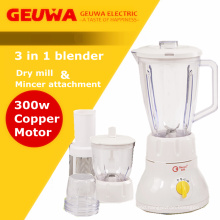 Mult-Functional 3 in 1blender with Dry Mill and Mincer Attachment