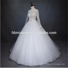 Luxus wulstige neue Art und Weisefußbodenlänge des Sommers 2018 geschwollenes Hochzeitskleid mit langen Ärmeln mit Seilentwurf