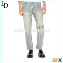 Europe style light color fading heavy stitch jeans pent for men