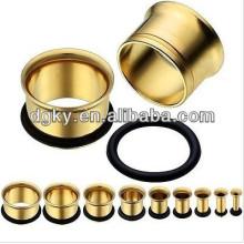 Anodizado ouro carne orelha túnel piercing jóias