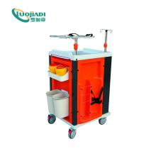 Chariot d'urgence en acier inoxydable ABS pour hôpital Moible