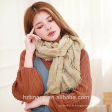 Mode fantaisie design chaud hiver maxi dames hijab femmes doux bandhnu couleur glands dernière conception écharpe châle