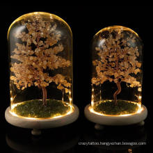 Natural Crystal Lucky Tree Fortune Everlasting Flower Tree Home Decoration with Lamp Glass Cover Log Bottom