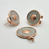 Hot Fashion Round Crystal Rose Gold Plated Pendants, Big Earrings Women Charm Famous Jewelry Sets (S14A06649EP7W0008)