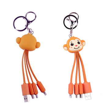 Hot Sell Cute Cartoon 3 In 1 Charger Cable 12 Zodiac Animal  Pvc USB Keychain Cable Fun Promotional Gift Cable Charger