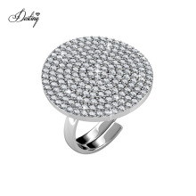 New Arrival 2021 Classic Elegance Adjustable Statement Round Micro Pave Cocktail Ring Women Jewelry