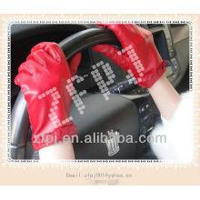 Invierno de estilo de moda con guante de cuero genuino mujeres rojas