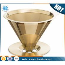 Cône de filtre à café en acier inoxydable enduit de titane / café goutteur / cafetière goutte à goutte avec support