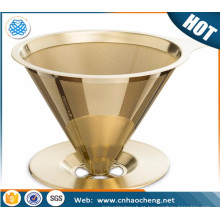 China supplier stainless steel pour over coffee filter gold titanium coated coffee strainer