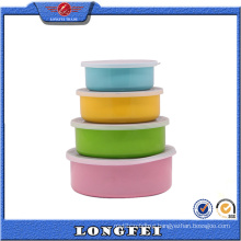 Colorful Stylish S/S Storage Bowl Set with Plastic Lid