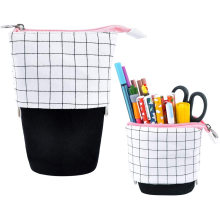 Telescopic Pencil Case Stand Up Pen Bag Grid Pencil Holder Canvas Stationery Pouch Cosmetic Bags