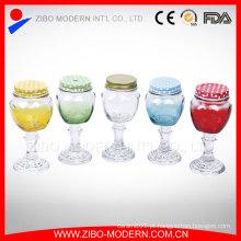 Frasco de vidro colorido Jar Jarro de alvenaria alto personalizado com haste