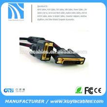 Hochwertiges rotes schwarzes geflochtenes DVI-D DVI 24 + 1 Kabel mit ferriten Mann zum männlichen M / M Draht 28AWG