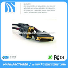 Alta qualidade Vermelho Preto trançado DVI-D DVI 24 + 1 cabo com ferrites Macho Para Macho M / M fio 28AWG
