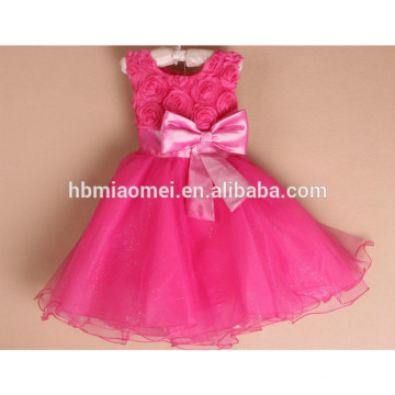 2017 colorful girls party dress one pcs party wear 3 year old girl dress with bow tie for wedding