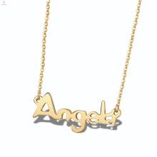 Алфавит Пластины Из Нержавеющей Стали Ангел Пользовательских Персонализированные Имя Ожерелье