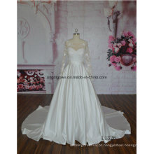 Manga longa manto trem factrory direto venda quente vestido de noiva