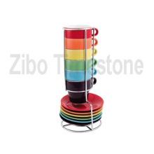 Copa de porcelana y platillo con estante de metal (91006-003)