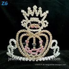 Mode Silber überzog Kinder Kristall Halloween Kürbis Krone für Festzug Verwendung