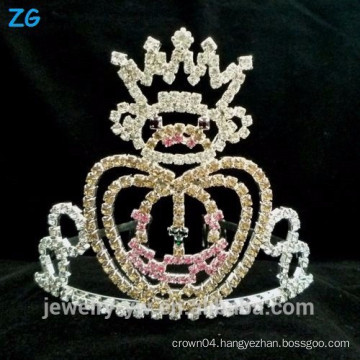 Fashion Silver Plated Kids Crystal Halloween Pumpkins Crown For Pageant Useing