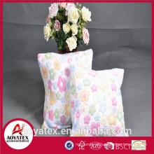 Flor em relevo almofada de lã coral, almofada fashional com enchimento, almofada de lã coral made in china