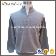 suéter de los hombres jersey de punto suéter de cachemira cuello con cremallera frontal