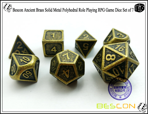 Bescon New Style Ancient Brass Solid Metal Polyhedral Role Playing RPG Game Dice Set (7 Die in Pack)-4