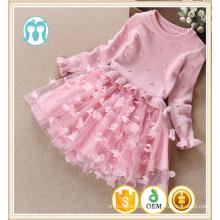Camisolas mangas compridas rendas bebê meninas vestidos de inverno crianças blusas top dress bottom outono estilo