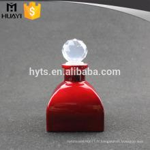 diffuseur en verre vide de couleur rouge pour diffuseur de parfum avec bouchon à bille