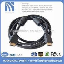 Oro plateado 1.5m Cable negro HDMI un hdmi para el proyector del hdtv de la TV