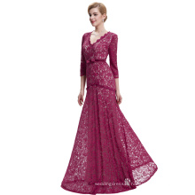 Starzz 2016 3/4 Sleeve Floor-Length V neck Long Wine Red Elegant Lace Evening Dress ST000012-2