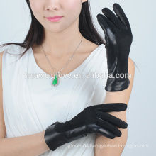 2015 fashion soft sheep suede ladies balck leather gloves