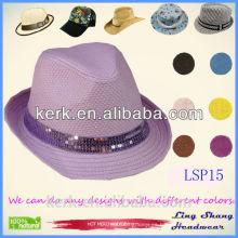 El sombrero púrpura del sombrero de Panamá de la paja de papel de los cequis 100% de los sombreros del cubo del sombrero del compartimiento capsula el cequi púrpura de los cequis del sombrero del sombrero del cubo, LSP15