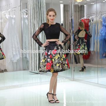 Vestido de noite de manga curta de tecido de renda de estilo curto para tamanho grande moda e elegent lady