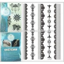 1 pc Art und Weiseschwarzes die Spitzetätowierungaufkleber die Armbandqualität, deren Preis reizvoller Tätowierungaufkleber j003