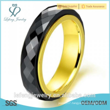 2015 hot sale personality titanium steel black ceramic ring for women, men