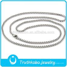 TKB-JN0090 requintado de alta qualidade de prata pura 316L com caixa de colar de corrente de aço inoxidável da cadeia