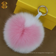 De qualidade superior Handmade Heart Shape Fox Fur Ball Bobble Key Rings Pendant Bag Charm